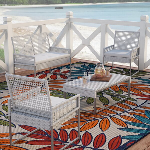Lilly 4 Piece Rattan Sofa Seating Group with Cushions by Beachcrest Home