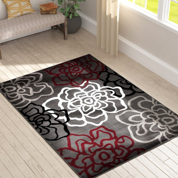 Elliott Bay Red/Gray Area Rug by Andover Mills