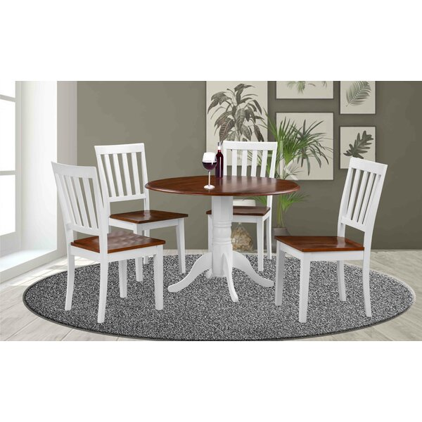 Vernell 5 Piece Drop Leaf Solid Wood Dining Set by August Grove August Grove