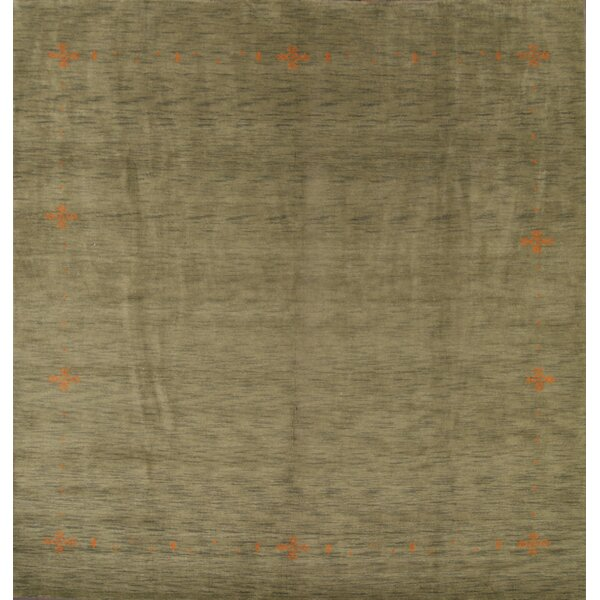 Asellus Gabbeh Oriental Hand-Knotted Wool Green Area Rug by Bloomsbury Market