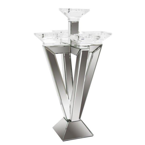 Mirrored 5 Cup Glass Candelabra by Orren Ellis