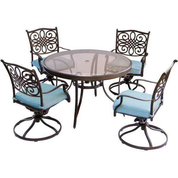 Lauritsen 5 Piece Outdoor Dining Set with Cushions by Three Posts