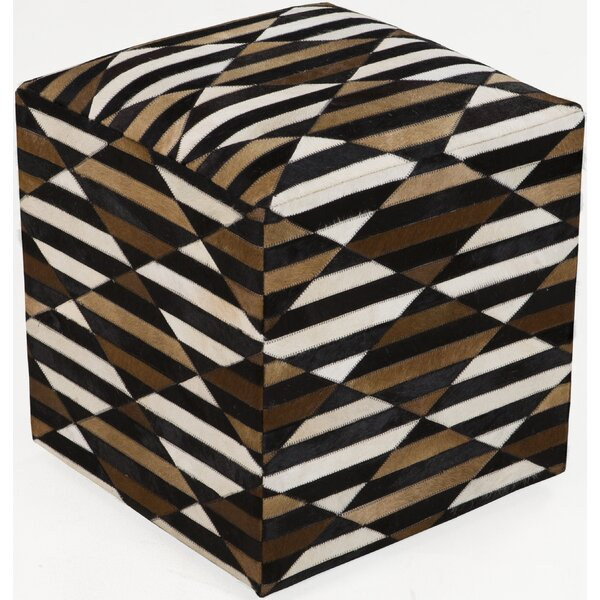 Maureen Leather Cube Ottoman by Bloomsbury Market