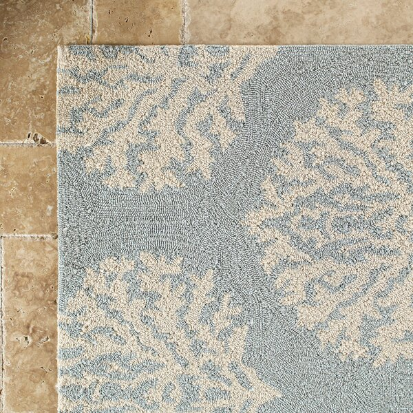 Cline Blue Hooked Area Rug by Highland Dunes
