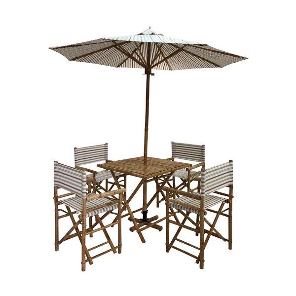 Janiyah Patio 5 Piece Dining Set with Umbrella Bayou Breeze W000938388