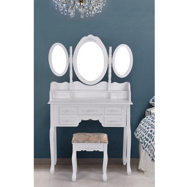 Sclafani Vanity Set With Mirror by House of Hampton