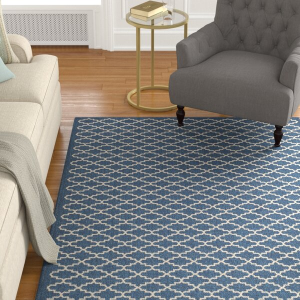 Louisville Navy/Beige Indoor/Outdoor Area Rug by Alcott Hill