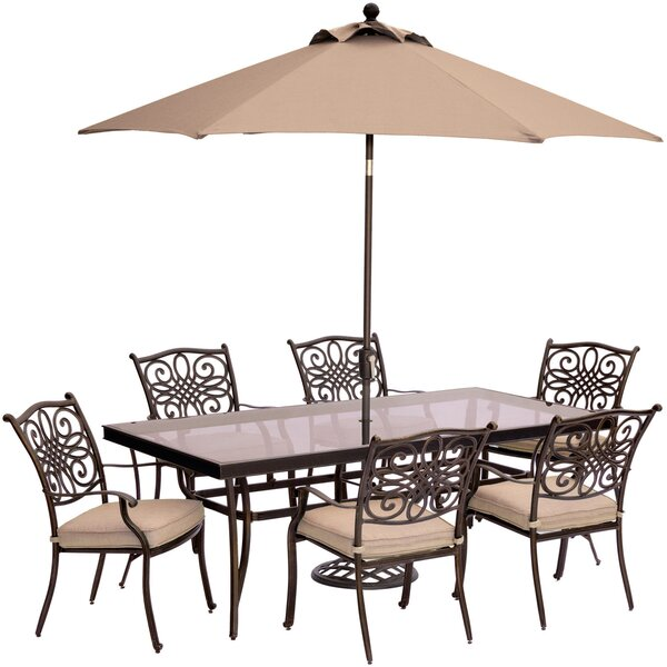 Carleton 7 Piece Golden Bronze Dining Set with Cushions and Umbrella by Fleur De Lis Living