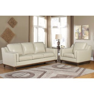 Jacob Cream Top Grain Leather Sofa And Arm Chair Set