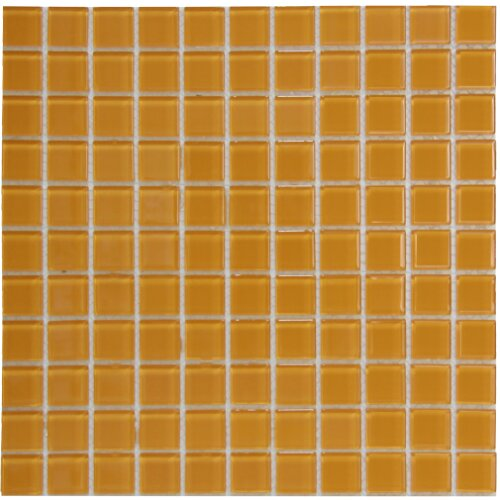 Crystal 1 x 1 Glass Mosaic Tile in Orange by Crystalcor USA