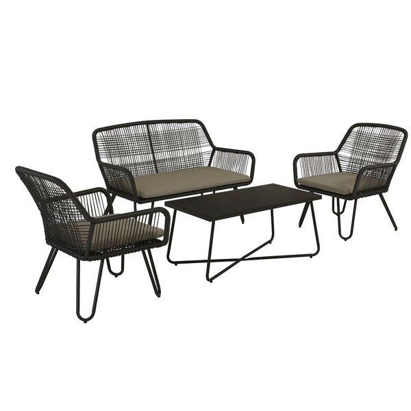 Marli 4 Piece Rattan Sofa Seating Group with Cushions by Novogratz Novogratz