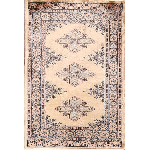 Ziggy Bokhara Oriental Hand-Knotted Wool Beige/Blue Area Rug by Bloomsbury Market
