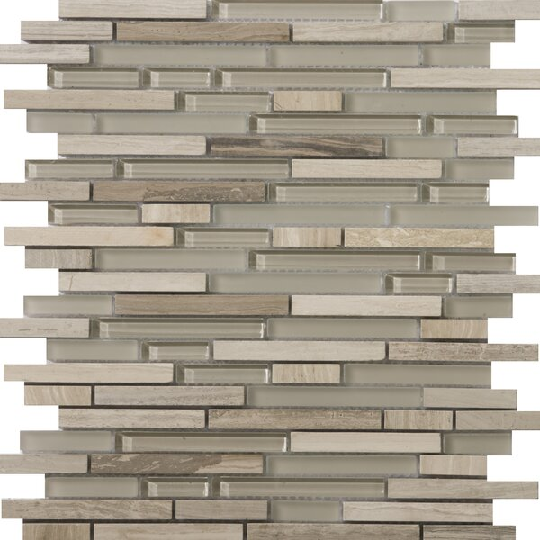 Lucente 12 x 13 Glass Stone Blend Linear Mosaic Tile in Certosa by Emser Tile