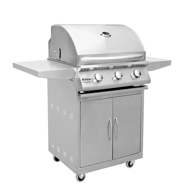Sizzler 3-Burner Propane Gas Grill with Side Shelves by Summerset Professional Grills