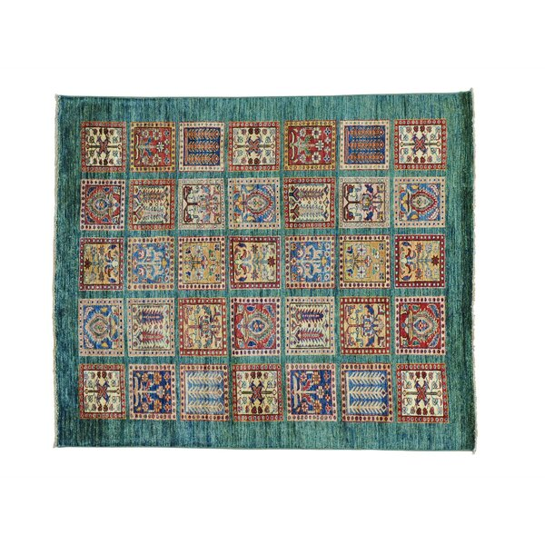 One-of-a-Kind Espada Garden Squarish Super Oriental Hand-Knotted Green Area Rug by Millwood Pines