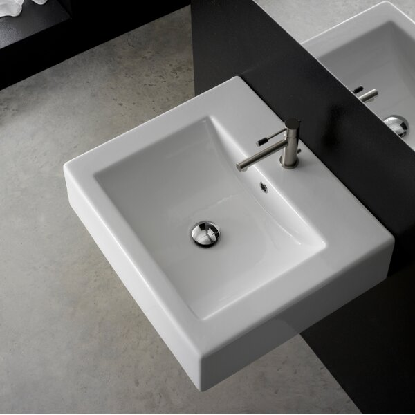 Ceramic Rectangular Drop-In Bathroom Sink with Overflow by Scarabeo by Nameeks