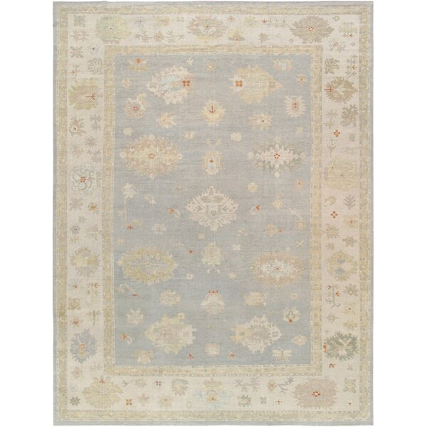 Oushak Hand-Knotted Wool Gray/Beige Area Rug by Pasargad