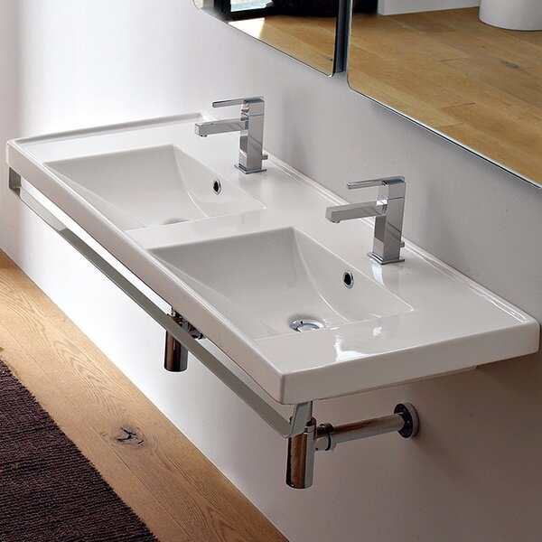 ML Ceramic Rectangular Wall-Mount Bathroom Sink with Overflow by Scarabeo by Nameeks