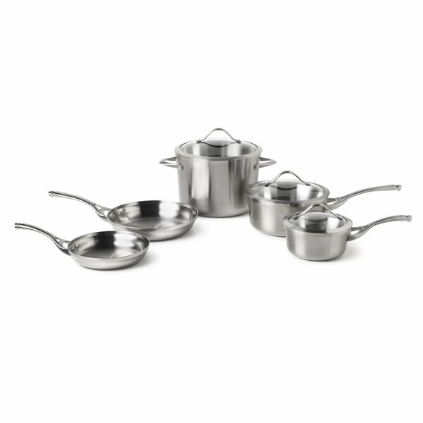 Contemporary Stainless Steel 8 Piece Cookware Set by Calphalon