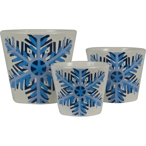 Snowflake 3-Piece Pot Planter Set by The Holiday Aisle