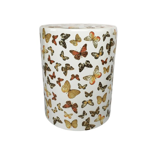 Helfrich Ceramic Butterfly Pattern Garden Stool by Alcott Hill