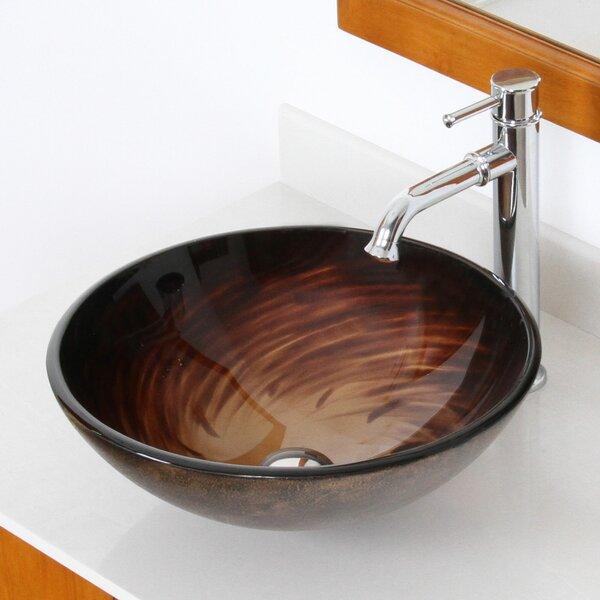 Whirlpool Glass Circular Vessel Bathroom Sink by Elite