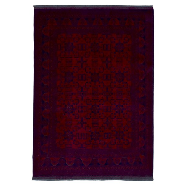 One-of-a-Kind San Vicente Traditional Khal Mohammadi Afghan Hand-Knotted Wool Red Area Rug by Bloomsbury Market