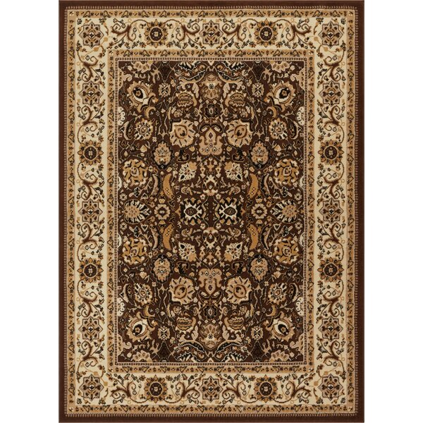 Persa Tabriz Oriental Persian Brown/Beige Area Rug by Well Woven