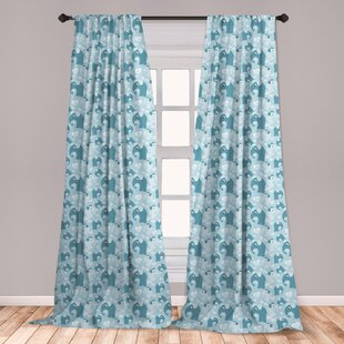 Ambesonne Nursery Curtains Childhood Theme Elephant With Dashed Lines Hearts Print Window Treatments 2 Panel Set For Living Room Bedroom