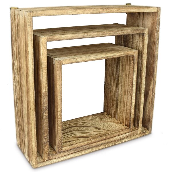 Magill Wooden Square Floating Display 3 Piece Wall Shelf Set by Union Rustic