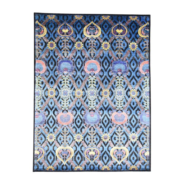 One-of-a-Kind Pecora Modern Arts and Crafts Hand-Knotted Silk Blue Area Rug by World Menagerie