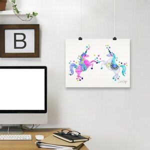 'Pastel Unicorns' Print by East Urban Home
