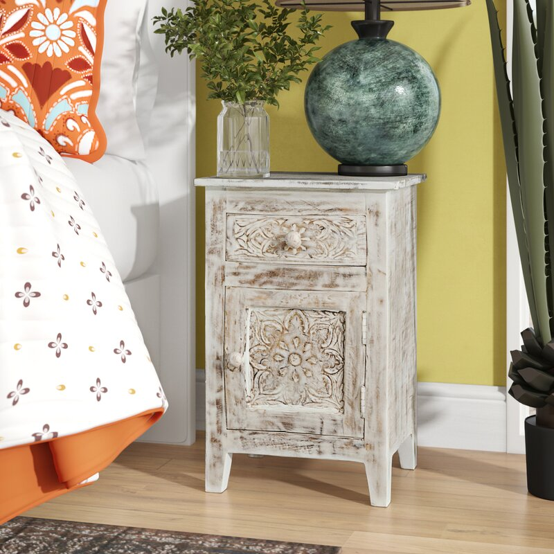 White Callimont Hand Carved End Table by Bungalow Rose