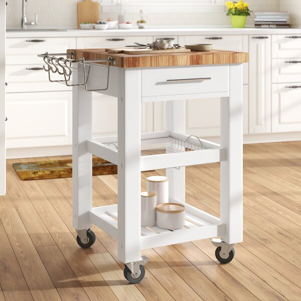 Sydney Kitchen Cart with Butcher Block Top by Ebern Designs