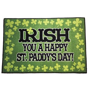 Best Price Urgeon Saint Patrick's Day Irish Green/Black Area Rug ByThe Holiday Aisle