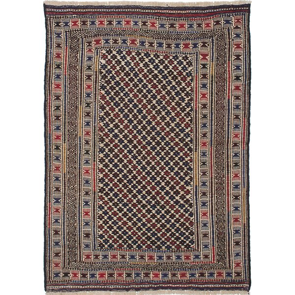 One-of-a-Kind Catarina Hand-Woven Wool Cream/Navy Blue Area Rug by Isabelline