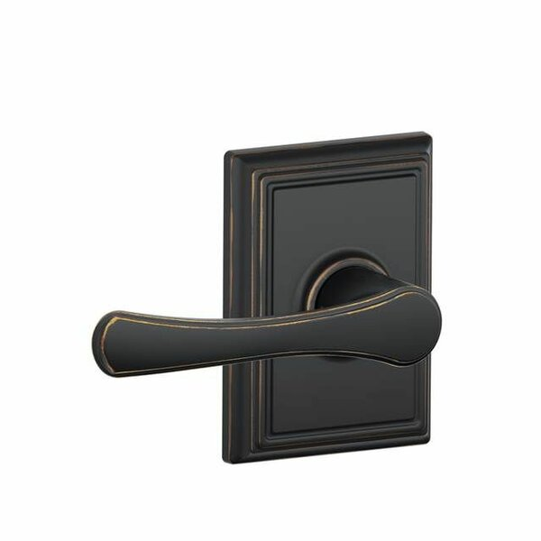 Interior Non-Turning Avila Lever and Interior Inactive Deadbolt Thumbturn with Addison Trim by Schlage
