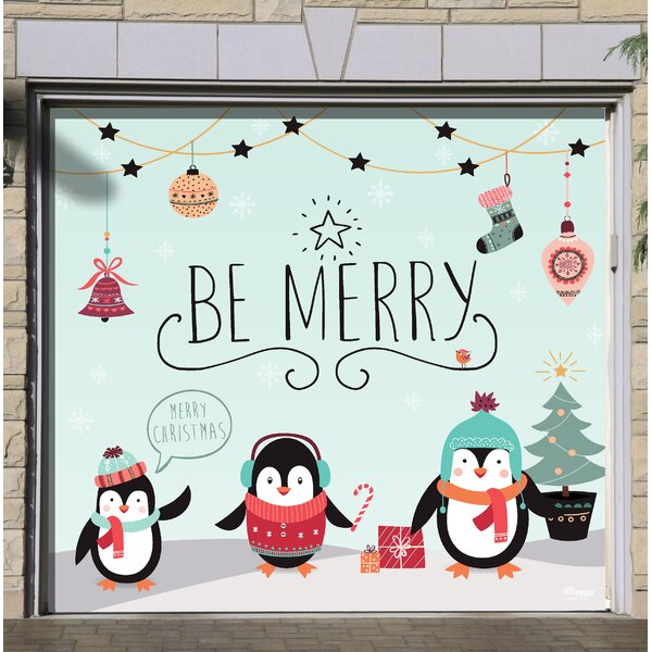 Merry Penguins Christmas Garage Door Mural by The Holiday Aisle