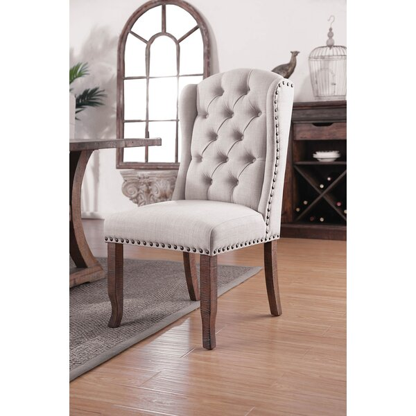 Myrna Tufted Upholstered Side Chair In Cream/Brown (Set Of 2) By Canora Grey