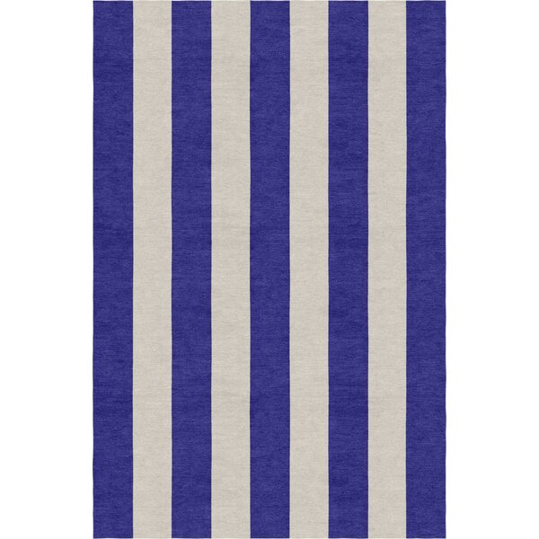 Burnell Hand-Woven Wool Indigo/Silver Area Rug by Longshore Tides