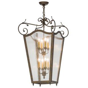 Greenbriar Oak 8-Light Foyer Lantern Pendant by Meyda Tiffany