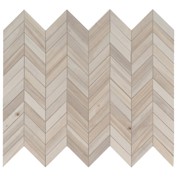Havenwood Dove Chevron Mesh Mounted Porcelain Mosaic Tile in Beige by MSI
