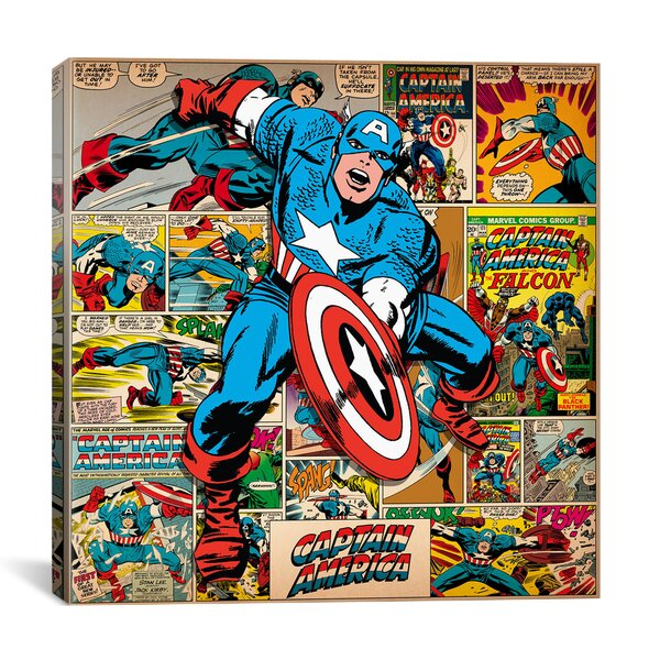 Marvel Comics Captain America on Captain America Cover and Panel Graphic Art on Wrapped Canvas by iCanvas