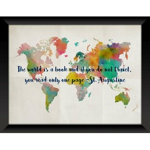 Glass world map wall art youll love wayfair map 1 framed textual art on glass gumiabroncs Gallery