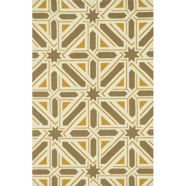 Danford Hand-Woven Taupe/Gold Area Rug by Wrought Studio