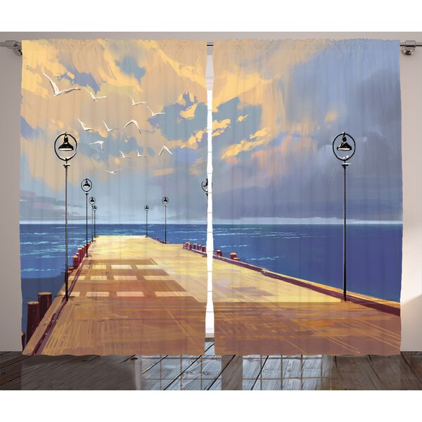 Wooden Bridge Décor Graphic Print Room Darkening Rod Pocket Curtain Panels (Set of 2) by East Urban Home
