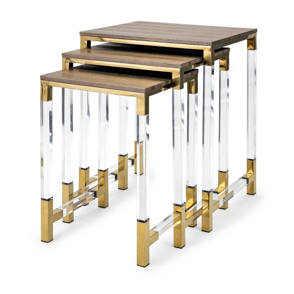 Elle Acrylic Leg 3 Piece Nesting Tables by Everly Quinn