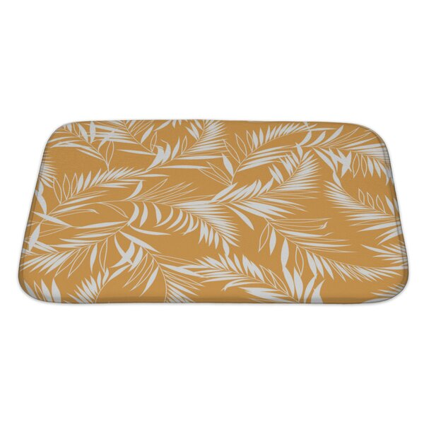Leaves Tropical Plant Rectangle Non-Slip Floral Bath Rug