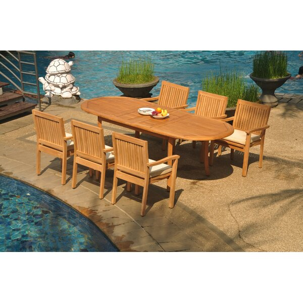 Perao 7 Piece Teak Dining Set by Rosecliff Heights