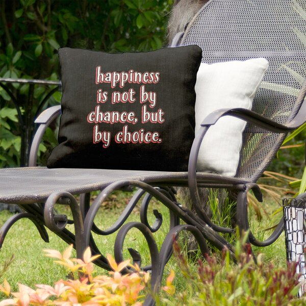 Happiness Inspirational Indoor/Outdoor Throw Pillow